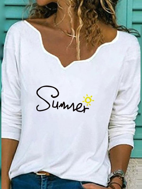 Casual V Neck Summer Letter Print Long Sleeve T-Shirt - Luckinchic