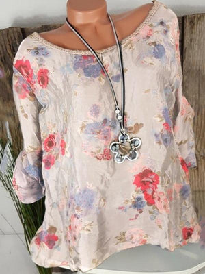 Floral Casual Polyester Round Neck Long Sleeve Blouses