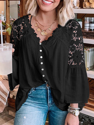 Casual V Neck Lace Stitching Solid Color Loose Pullover Shirt Top - Luckinchic