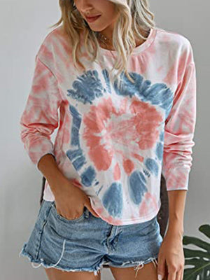 Casual Round Neck Tie Dye Long Sleeve Hoodie Top - Luckinchic