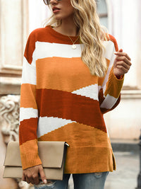 Casual Round Neck Irregular Stripe Color Block Pullover Knit Sweater - Luckinchic