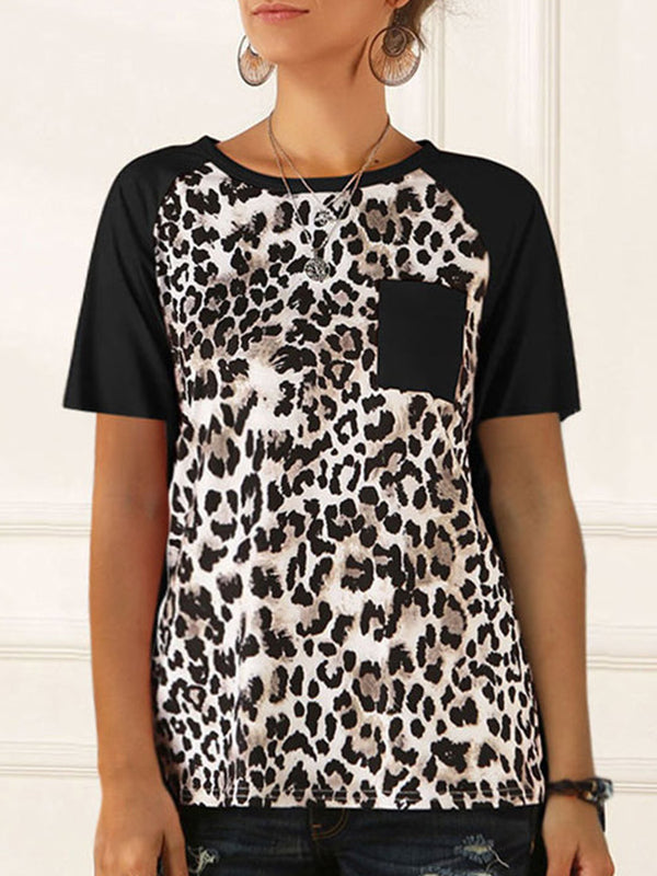 Casual Round Neck Leopard Print Short Sleeve T-Shirt - Luckinchic