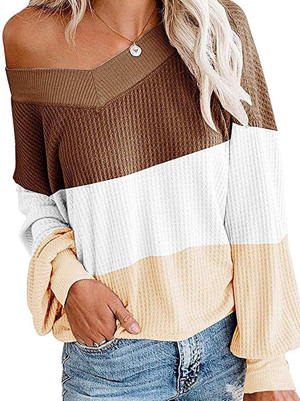 Casual V Neck Bat Sleeve Color Block Sweater - Luckinchic