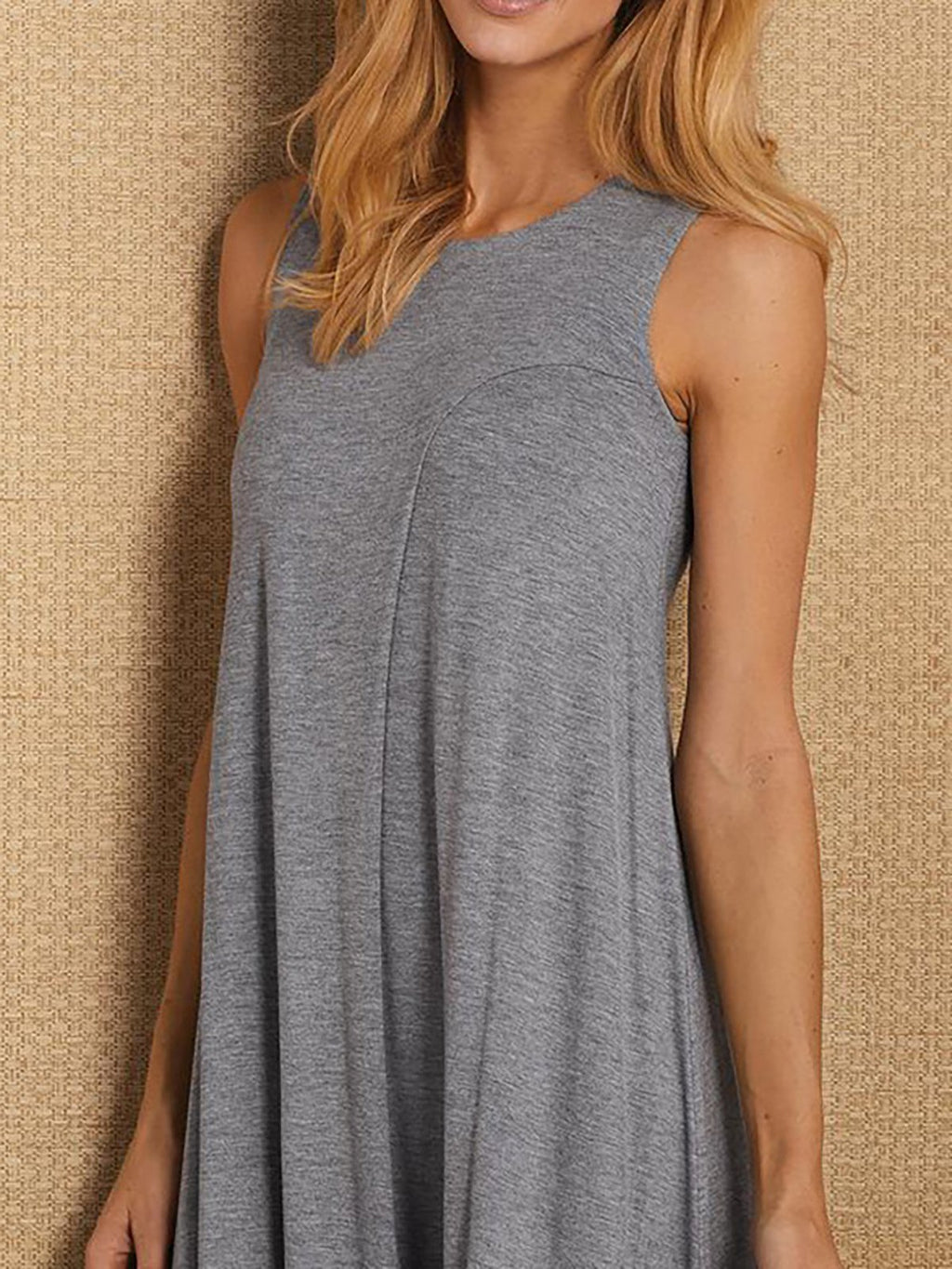 Daily Solid Crew Neck Casual Sleeveless Asymmetrical Dress
