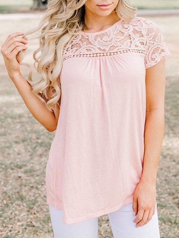Lace Round Neck Short Sleeve T-Shirt