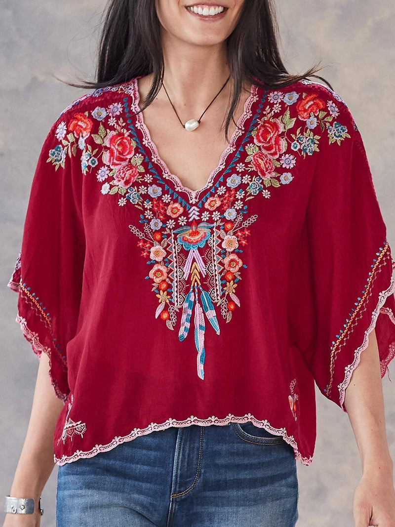 Bohemian Floral V Neck Short Sleeve Embroidered Blouses