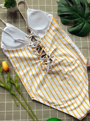 Yellow Stripes Lace Up Front One Piece Swimsuit