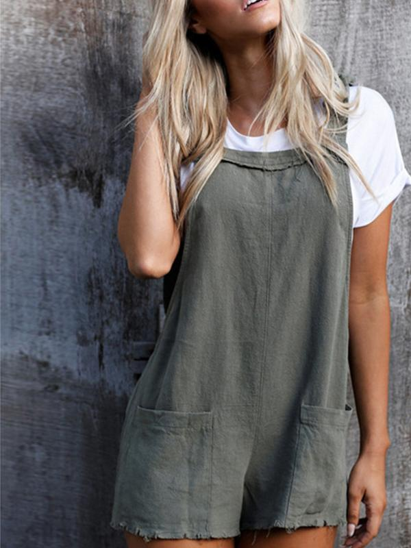Cotton Blend Overall Shorts Rompers