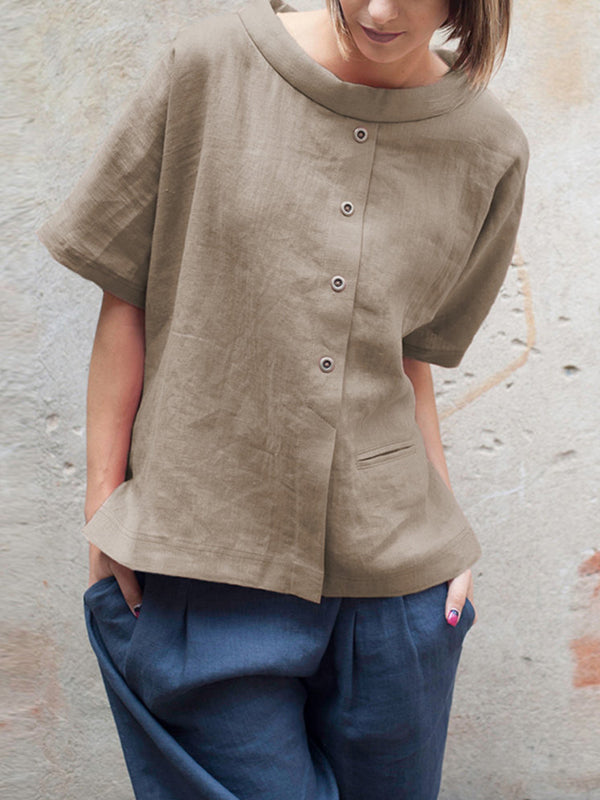 Patchwork Fake Button Crew Neck Short Sleeve Blouse
