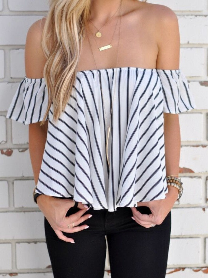Off The Shoulder Striped Blouser