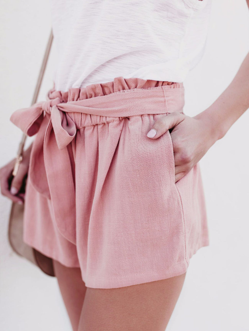 Summer Fashion Casual High Waist Lace Up Paper Bag Solid Shorts