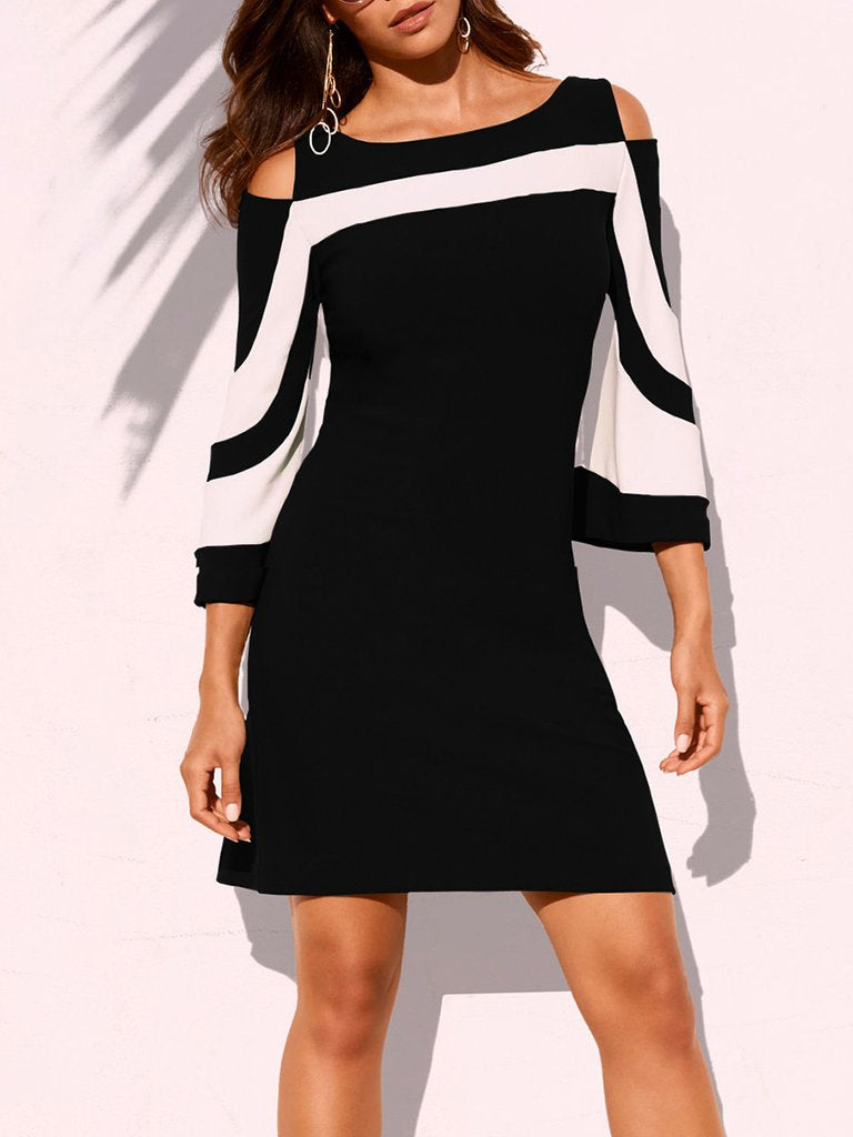 Colorblock Off-The-Shoulder Mini Dress