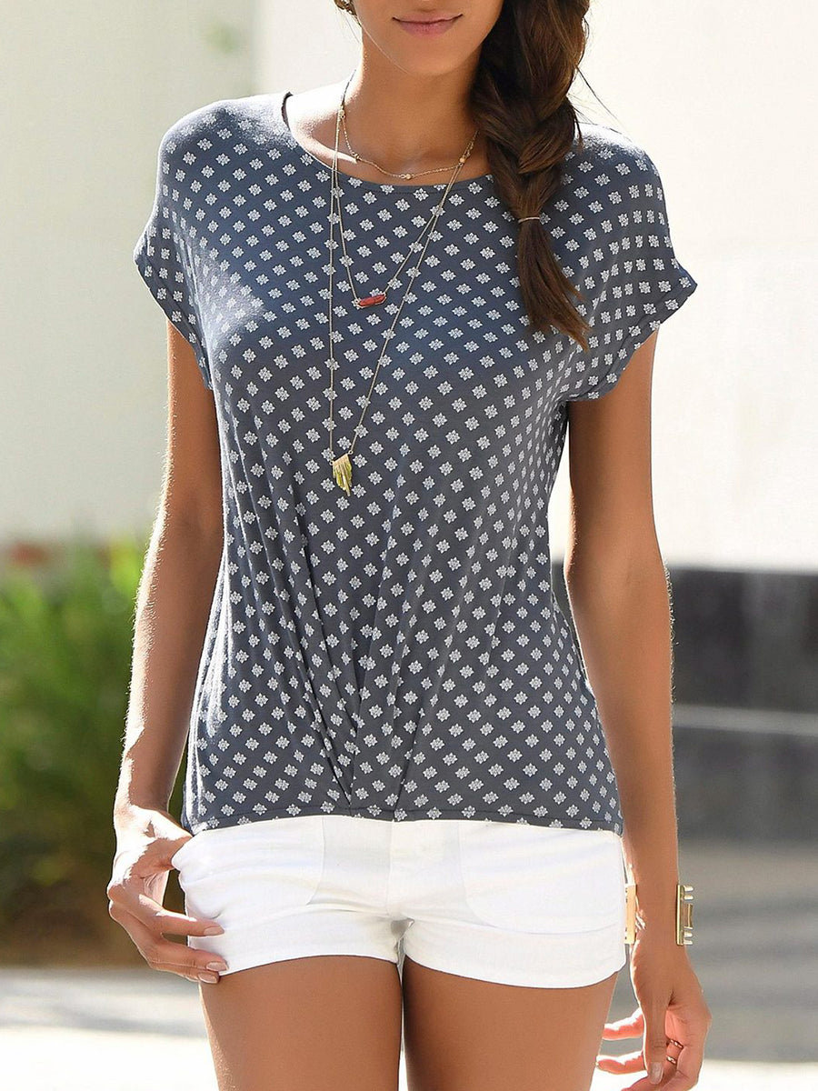 Floral Print Round Neck Twist Hem Short Sleeve T-Shirt