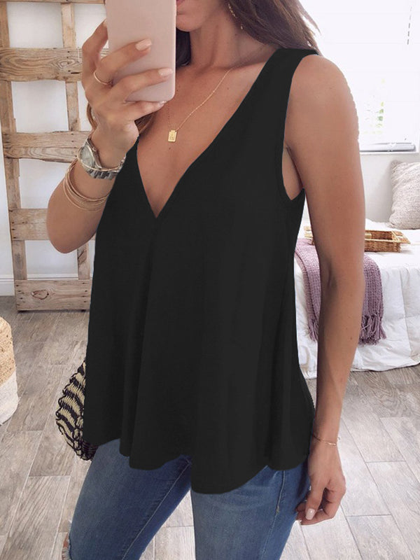 Solid Sleeveless V Neck Casual Blouse