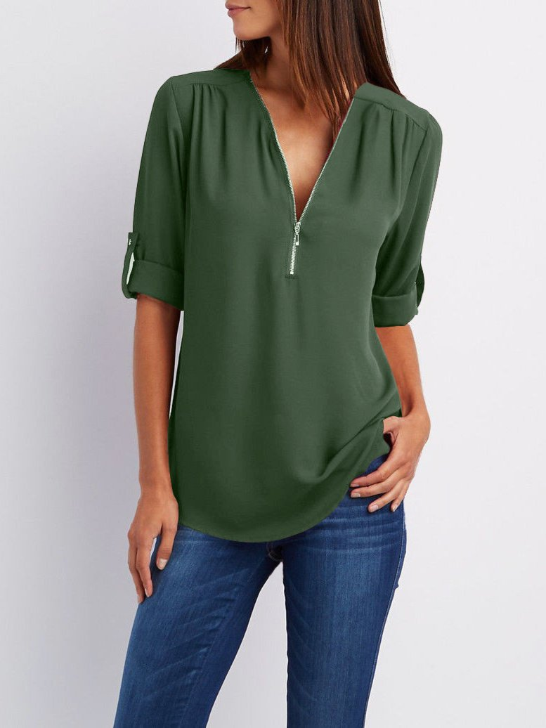 Casual Chiffon Loose Long Sleeve Sexy Zip V Neck Blouse