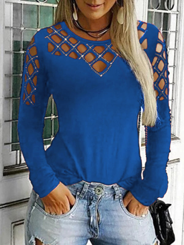 Round Neck Hollow Out Long Sleeve T Shirts - Luckinchic - LuckinChic.com