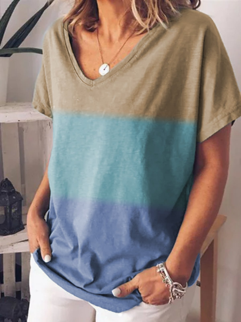 Short Sleeve V Neck Vintage Gradient Striped Casual T Shirts