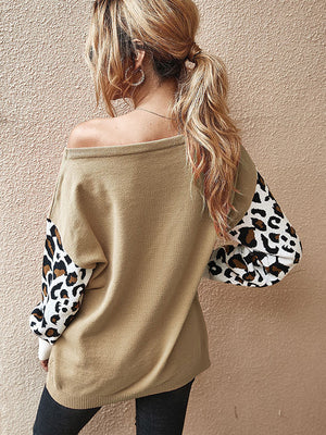 Casual Round Neck Patchwork Long Sleeve Leopard Sweater - Luckinchic