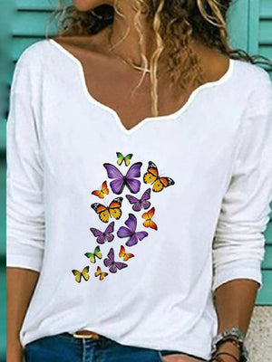 Casual V Neck Butterfly Print Long Sleeve T-Shirt - Luckinchic