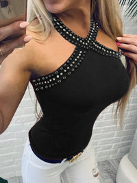 Sexy Halter Beading Sleeveless T-Shirt - Luckinchic