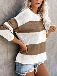 Casual Round Neck Striped Color Block Sweaters Long Sleeve Comfy Loose Knitted Pullover Tops - Luckinchic