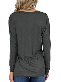 Casual V Neck Solid Color Long Sleeve With Pocket Top - Luckinchic