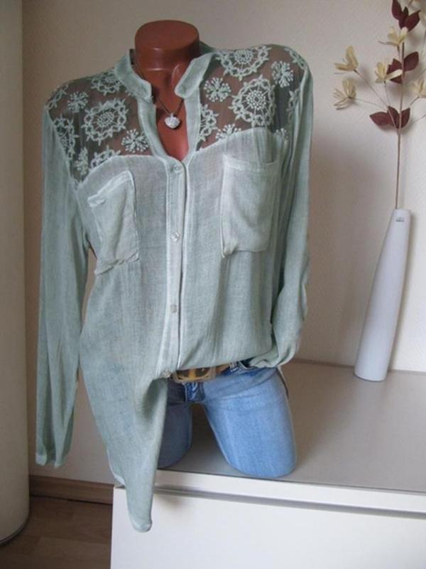Solid Cotton V-Neckline Long Sleeve Blouses - Luckinchic - LuckinChic.com