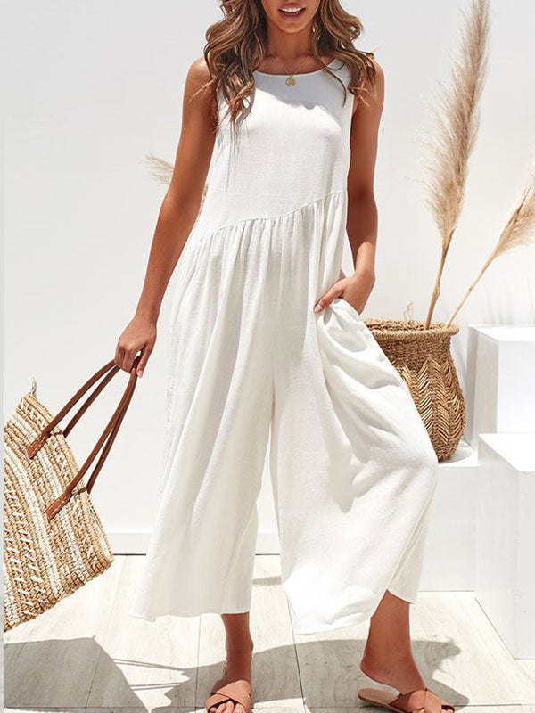 Solid Casual Round Collar Loose Sleeveless Jumpsuit