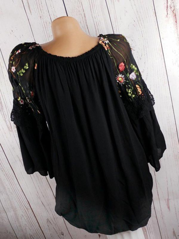 Clearance - Floral Polyester Round Neckline Long Sleeve Blouses - Luckinchic - LuckinChic.com