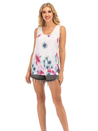 Round Neck Lace Back Design Floral Vest - Luckinchic