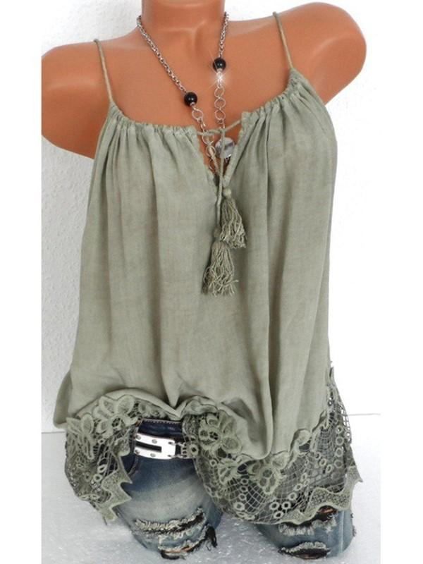 Faded Wash Lace Trim Sleeveless V Neck Vest - Luckinchic - LuckinChic.com