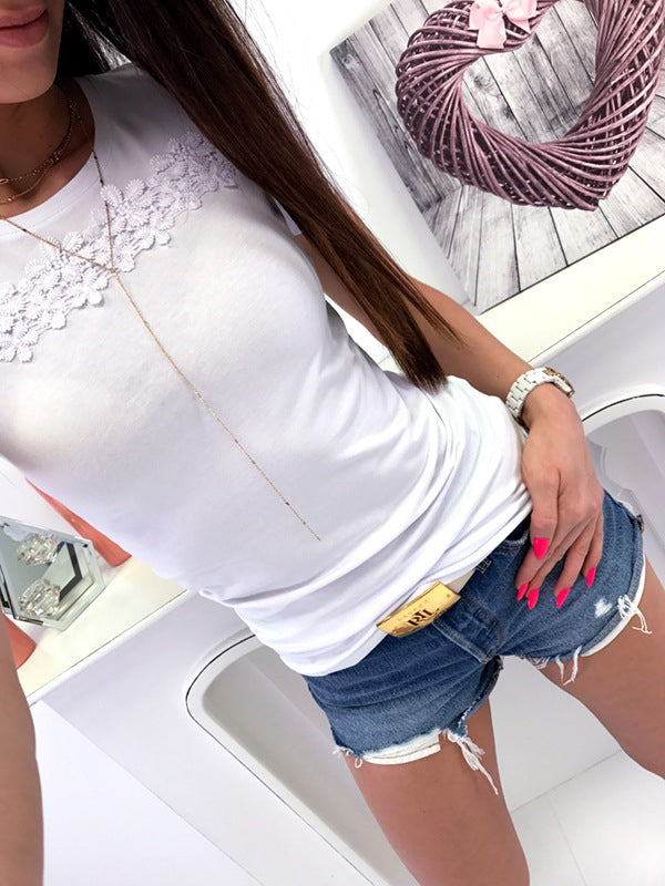 Fashionable Solid V Neckline Short Sleeve Tops T Shirt