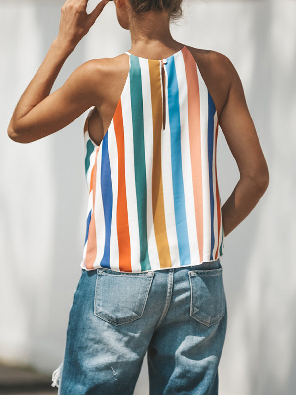 Rainbow Sleeveless Striped V Neck Tank