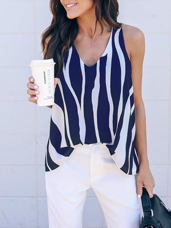Casual Striped V Neck Sleeveless Blouse