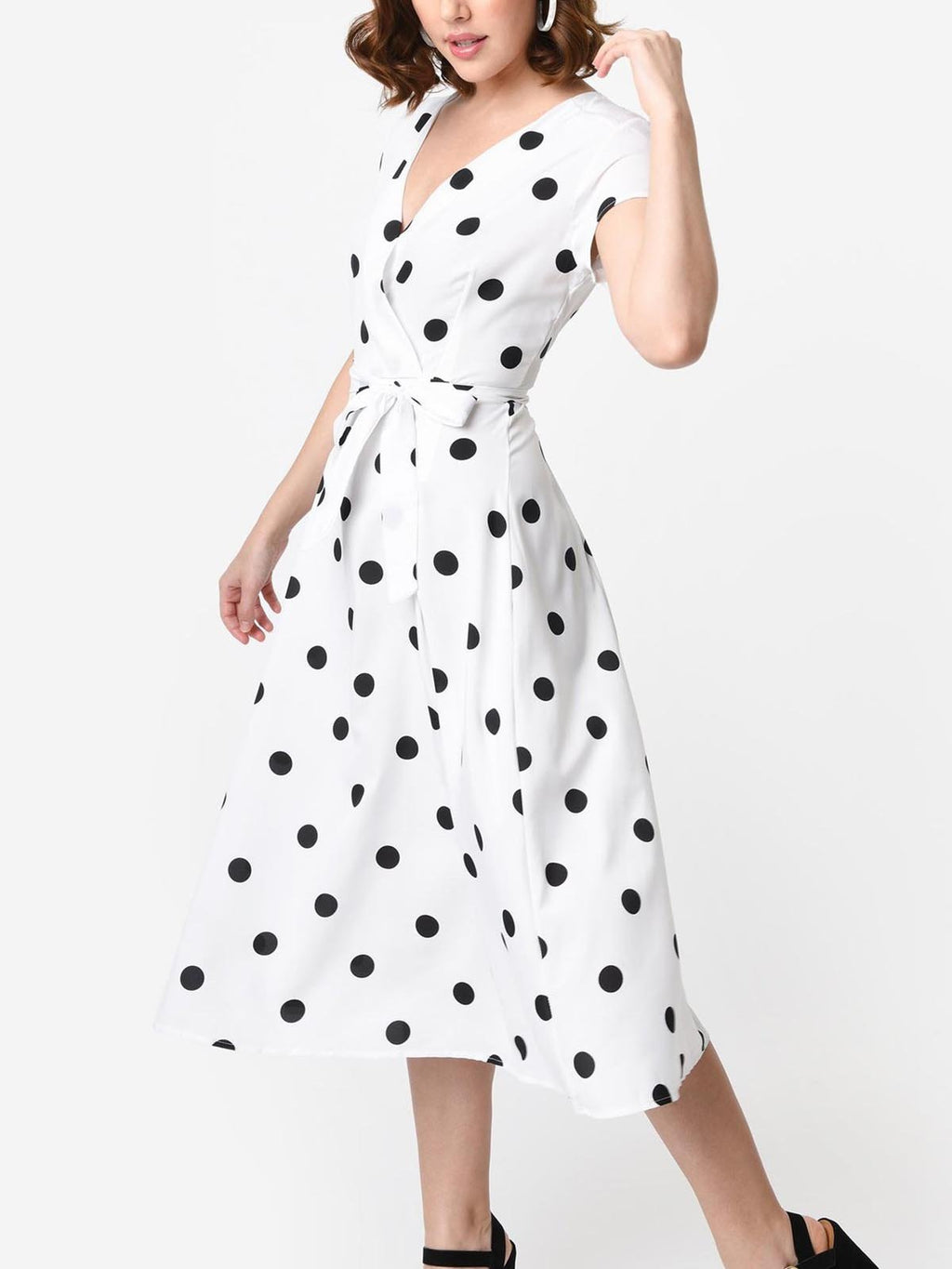 1950s Style Polka Dot Cap Sleeve Swing Dress