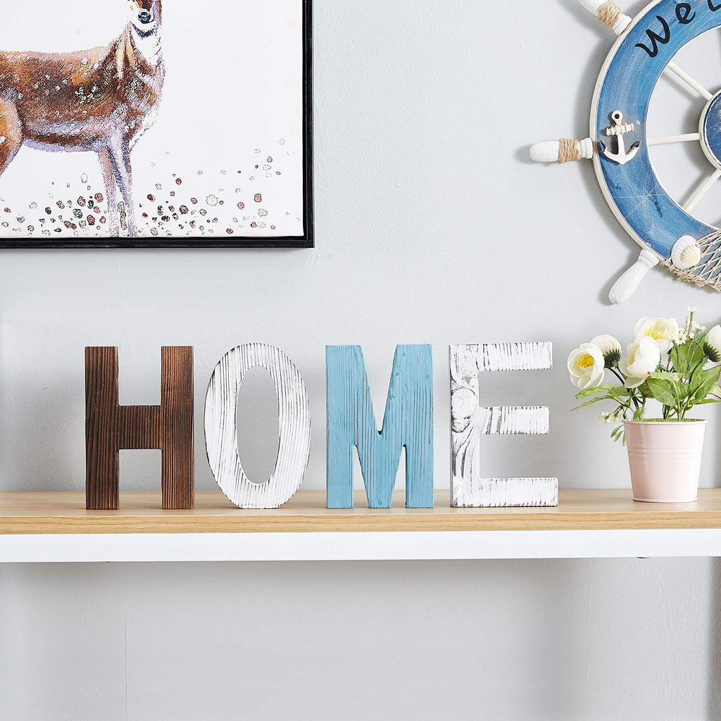 US Stock RHF Wood Standing Cutout Letter Decor, Rustic Home Decor,Family Signs,Shelf Decor,Home Sign,Wall Decor,Signs for Home Decor,Farmhouse Decor,Decorative Sign,Decorative Letters Object (Home) 4 Letter - Luckinchic - LuckinChic.com
