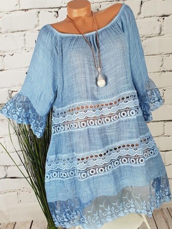 Boho Lace Patchwork Sleeveless Mini Dress