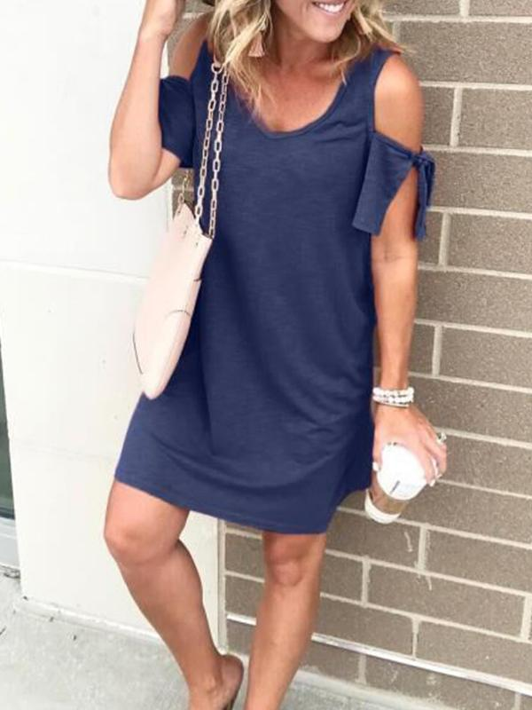 Cold Shoulder Solid Short Sleeve Dresses