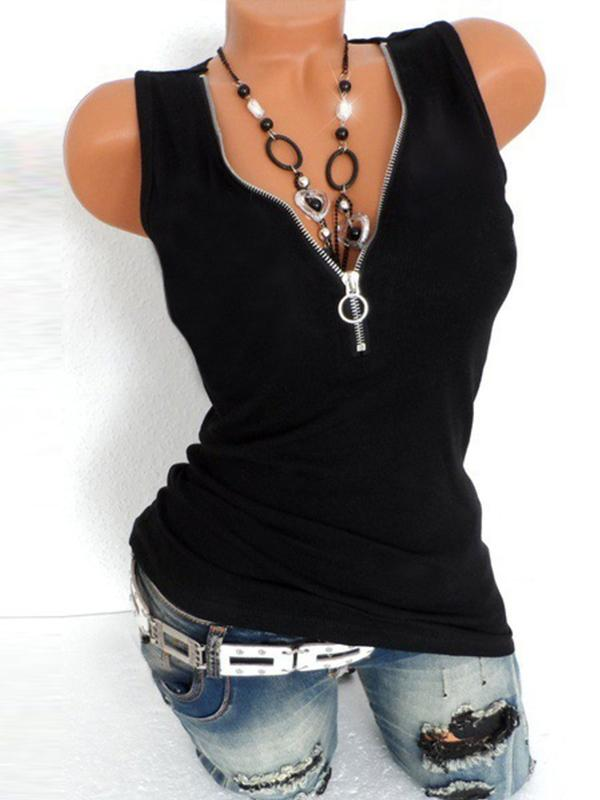 Camisole Neckline Sleeveless Blouses - Luckinchic - LuckinChic.com