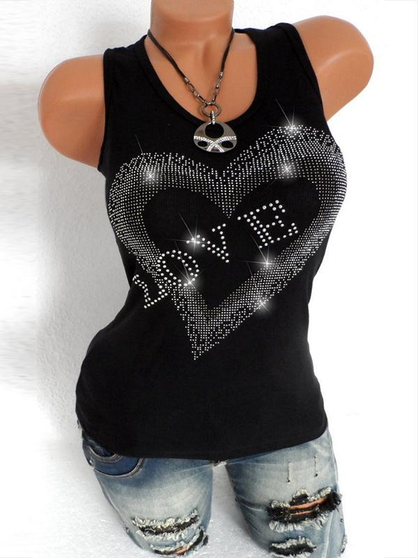 Fashion Hart Camisole Neckline Sexy Sleeveless Casual Slim T Shirt