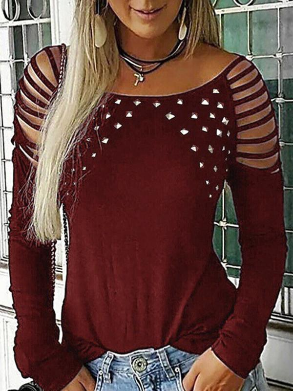 Casual Hollow Out Long Sleeve Round Neck T Shirt - Luckinchic - LuckinChic.com