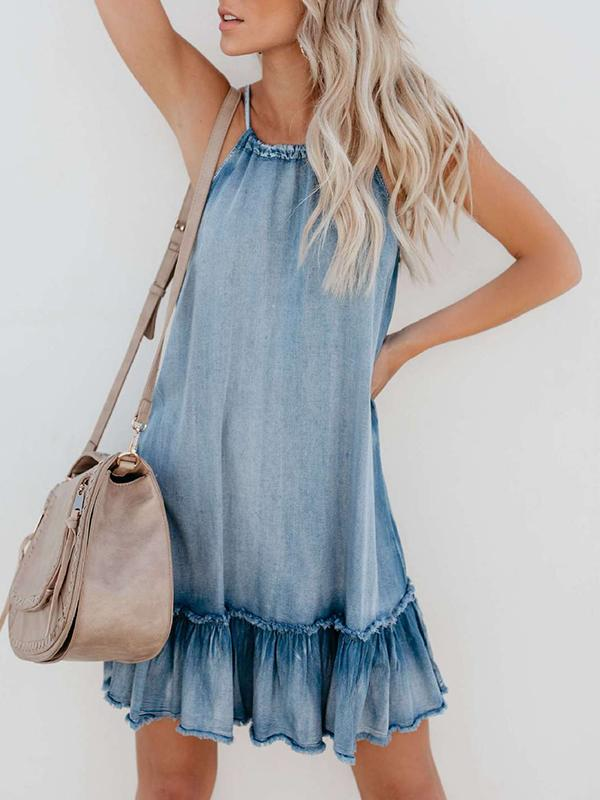 Casual Summer Sleeveless Denim Midi Dress - LuckinChic.com