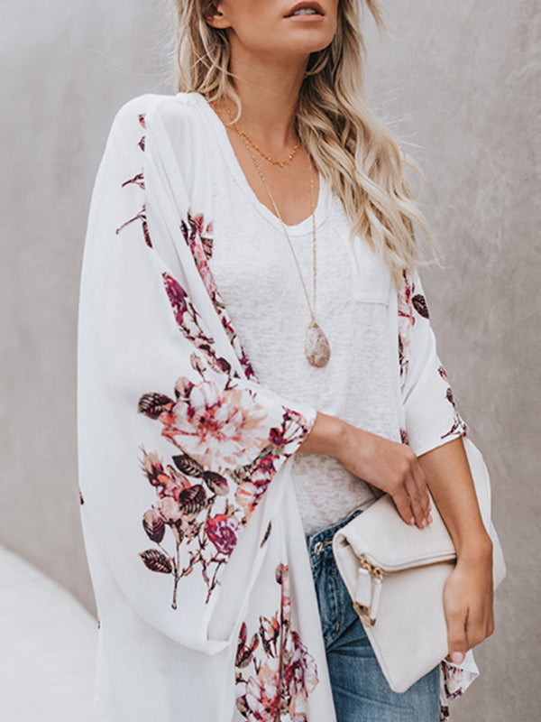 Floral Shawl Beachwear Cover Ups