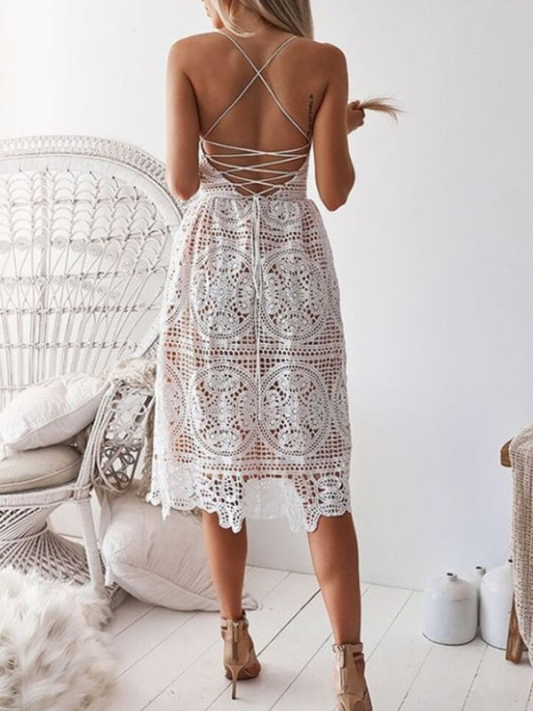 Spaghetti Strap Lace V Neck Midi Dress
