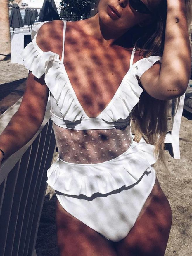 Deep V Neck Ruffled Sleeve One Piece Swimsuit