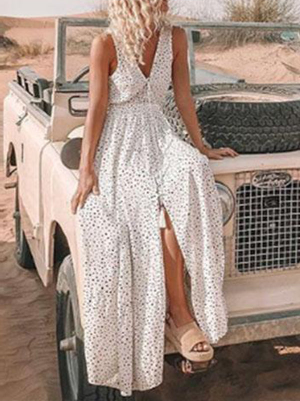 Polka Dot V Neck A-Line Maxi Dress