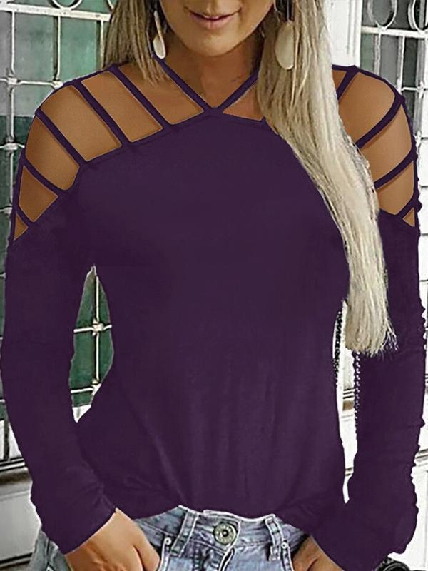 Casual Strap Neck Long Sleeve T Shirts - Luckinchic - LuckinChic.com