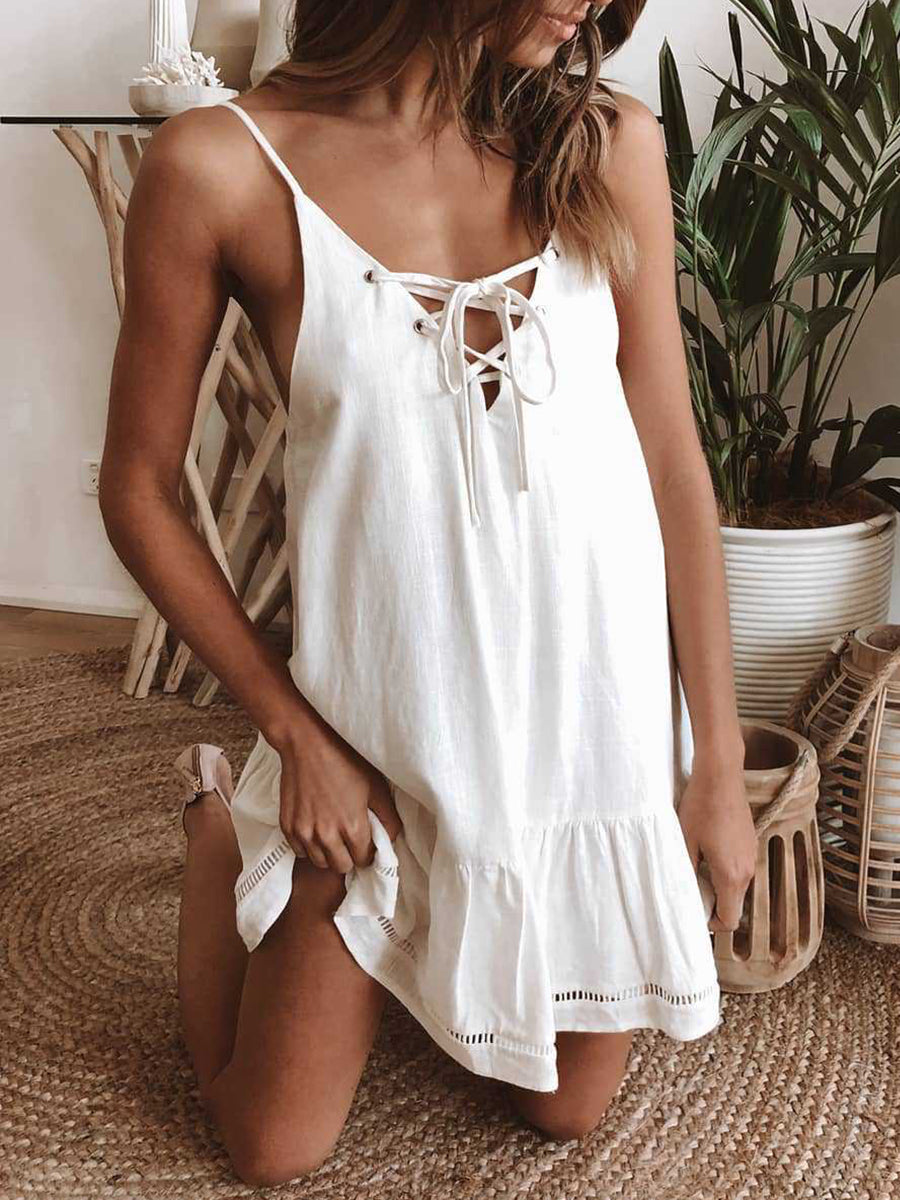 Lace Up V Neck Sleeveless A-Line Dress