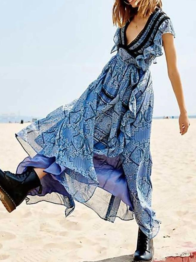 Boho Floral Lace Ruffle Sleeve Chiffon Dress