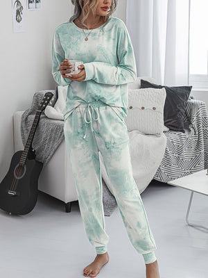 Tie-Dye Printed Long Sleeve Tops and Pants Long 2 Piece Pajamas Set with Pockets - Luckinchic